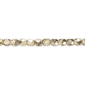 bead, czech fire-polished glass, clear with half-coat metallic pale gold, 4mm faceted round. sold per 16-inch strand.