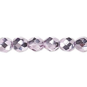 bead, czech fire-polished glass, clear with half-coat metallic pink silver, 8mm faceted round. sold per 16-inch strand.