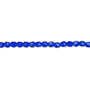 bead, czech fire-polished glass, cobalt, 3mm faceted round. sold per 16-inch strand, approximately 130 beads.