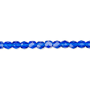 bead, czech fire-polished glass, cobalt, 4mm faceted round. sold per pkg of 1,200 (1 mass).