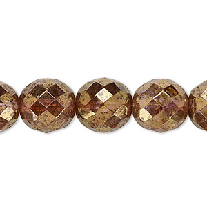 bead, czech fire-polished glass, copper luster, 12mm faceted round. sold per pkg of 600 (1/2 mass).