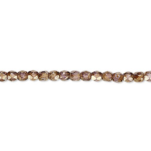 bead, czech fire-polished glass, copper luster, 3mm faceted round. sold per pkg of 1,200 (1 mass).