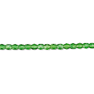 bead, czech fire-polished glass, emerald green, 3mm faceted round. sold per 16-inch strand, approximately 130 beads.