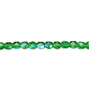 bead, czech fire-polished glass, emerald green ab, 4mm faceted round. sold per 16-inch strand.