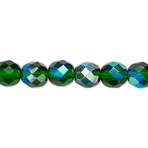 bead, czech fire-polished glass, emerald green ab, 8mm faceted round. sold per 16-inch strand.