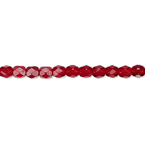bead, czech fire-polished glass, garnet red, 4mm faceted round. sold per pkg of 1,200 (1 mass).