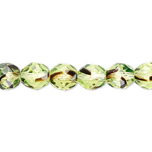 bead, czech fire-polished glass, green and brown, 8mm faceted round. sold per 16-inch strand.