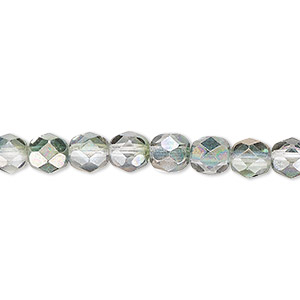 bead, czech fire-polished glass, green and grey luster, 6mm faceted round. sold per 16-inch strand.