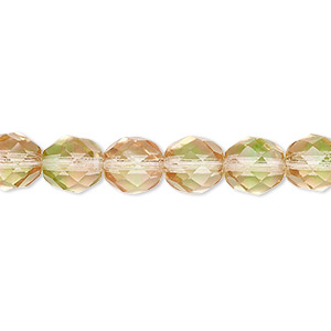 bead, czech fire-polished glass, green and pink, 8mm faceted round. sold per 16-inch strand, approximately 50 beads.