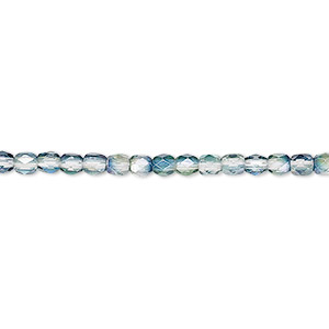 bead, czech fire-polished glass, green and teal, 3mm faceted round. sold per pkg of 1,200 (1 mass).
