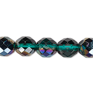 bead, czech fire-polished glass, green blue iris, 10mm faceted round. sold per 16-inch strand.