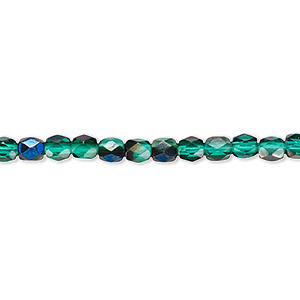 bead, czech fire-polished glass, green blue iris, 4mm faceted round. sold per 16-inch strand.