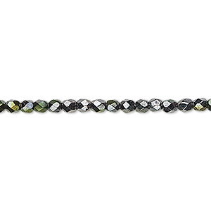 bead, czech fire-polished glass, hematite and gold luster, 3mm faceted round. sold per 16-inch strand.