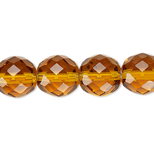 bead, czech fire-polished glass, honey, 12mm faceted round. sold per 16-inch strand, approximately 35 beads.