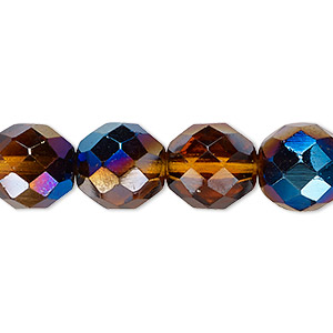 bead, czech fire-polished glass, honey blue iris, 12mm faceted round. sold per 16-inch strand.