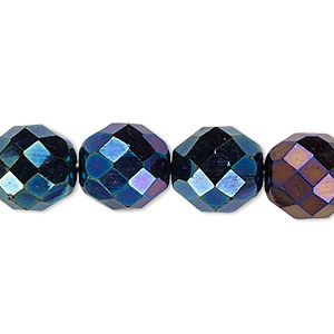 bead, czech fire-polished glass, iris blue, 12mm faceted round. sold per pkg of 600 (1/2 mass).
