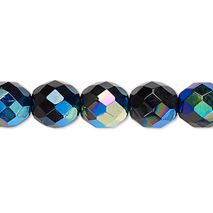 bead, czech fire-polished glass, jet ab, 10mm faceted round. sold per 16-inch strand.