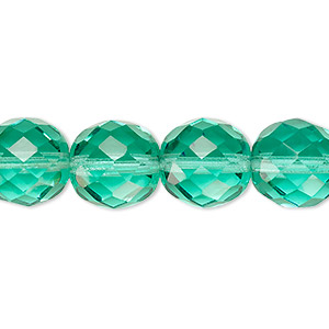 bead, czech fire-polished glass, light aqua, 12mm faceted round. sold per 16-inch strand, approximately 35 beads.