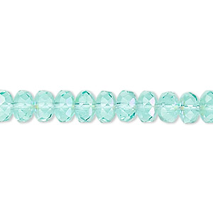 bead, czech fire-polished glass, light aqua ab, 7x5mm faceted rondelle. sold per 16-inch strand.