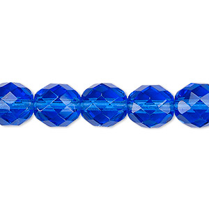 bead, czech fire-polished glass, light cobalt, 10mm faceted round. sold per 16-inch strand, approximately 40 beads.