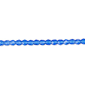 bead, czech fire-polished glass, light cobalt, 3mm faceted round. sold per pkg of 1,200 (1 mass).