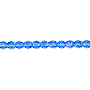 bead, czech fire-polished glass, light cobalt, 4mm faceted round. sold per 16-inch strand, approximately 100 beads.