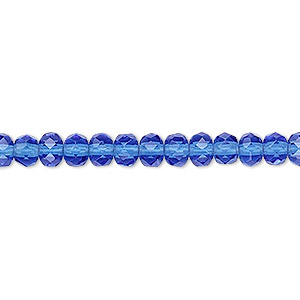 bead, czech fire-polished glass, light cobalt, 5x4mm faceted rondelle. sold per 16-inch strand.
