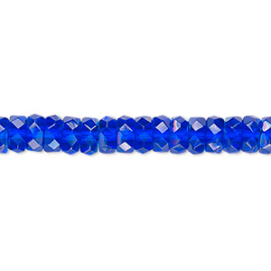 bead, czech fire-polished glass, light cobalt ab, 6x3mm faceted rondelle. sold per 16-inch strand.