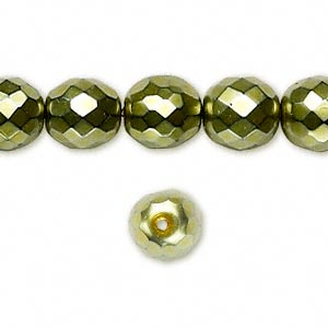 bead, czech fire-polished glass, light green carmen, 10mm faceted round. sold per pkg of 600 (1/2 mass).