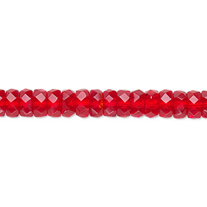 bead, czech fire-polished glass, light red, 6x3mm faceted rondelle. sold per 16-inch strand.