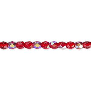 bead, czech fire-polished glass, light red ab, 4mm faceted round. sold per pkg of 1,200 (1 mass).
