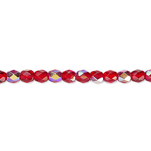 bead, czech fire-polished glass, light red ab, 4mm faceted round. sold per 16-inch strand.