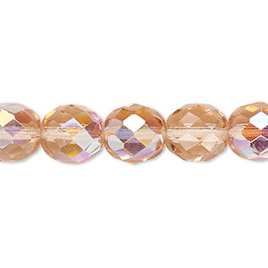 bead, czech fire-polished glass, light rose ab, 10mm faceted round. sold per 16-inch strand.