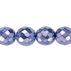 bead, czech fire-polished glass, lilac carmen, 12mm faceted round. sold per 16-inch strand.