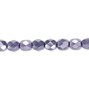 bead, czech fire-polished glass, lilac carmen, 6mm faceted round. sold per 16-inch strand.