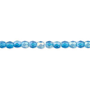 bead, czech fire-polished glass, matte blue ab, 4mm faceted round. sold per pkg of 1,200 (1 mass).