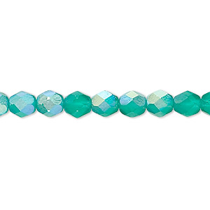 bead, czech fire-polished glass, matte green ab, 6mm faceted round. sold per 16-inch strand.