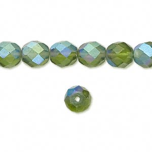bead, czech fire-polished glass, matte light green ab, 8mm faceted round. sold per 16-inch strand.