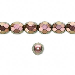 bead, czech fire-polished glass, metallic copper, 8x7mm faceted oval. sold per 16-inch strand, approximately 50 beads.