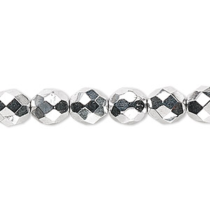 bead, czech fire-polished glass, metallic silver, 8mm faceted round. sold per 16-inch strand.