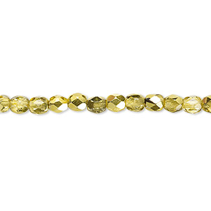 bead, czech fire-polished glass, metallic yellow gold, 4mm faceted round. sold per pkg of 1,200 (1 mass).