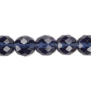 bead, czech fire-polished glass, montana blue, 10mm faceted round. sold per 16-inch strand, approximately 40 beads.