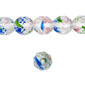 bead, czech fire-polished glass, multicolored, 10mm faceted round. sold per 16-inch strand, approximately 40 beads.