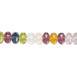 bead, czech fire-polished glass, multicolored, 7x5mm faceted rondelle. sold per 16-inch strand.