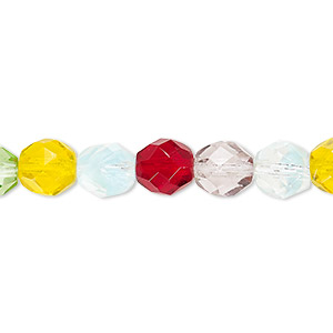 bead, czech fire-polished glass, multicolored, 8mm faceted round. sold per pkg of 600 (1/2 mass).
