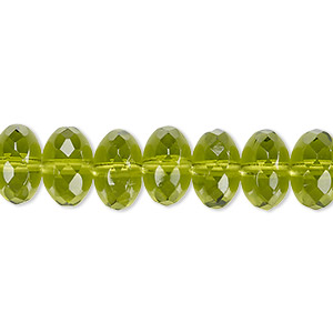 bead, czech fire-polished glass, olivine, 11x7mm faceted rondelle. sold per 16-inch strand.