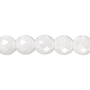 bead, czech fire-polished glass, opaque alabaster snow white luster, 10mm faceted round. sold per 16-inch strand.
