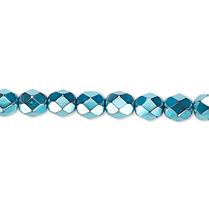 bead, czech fire-polished glass, opaque aqua carmen, 6mm faceted round. sold per 16-inch strand.