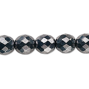 bead, czech fire-polished glass, opaque hematite, 10mm faceted round. sold per 16-inch strand, approximately 40 beads.