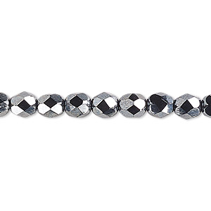 bead, czech fire-polished glass, opaque hematite, 6mm faceted round. sold per pkg of 1,200 (1 mass).